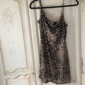 Cowl neck Camo leopard mini dress
